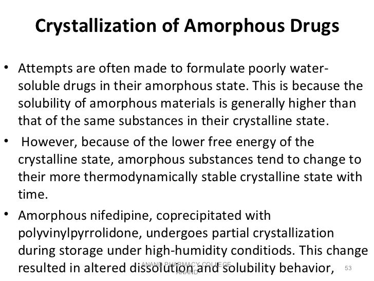 Crystallization of Amorphous Drugs• Attempts are often made to formulate poorly water-  soluble drugs in their amorphous s...