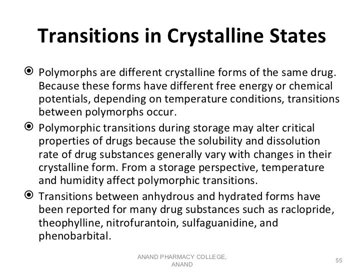 Transitions in Crystalline States Polymorphs are different crystalline forms of the same drug.  Because these forms have ...