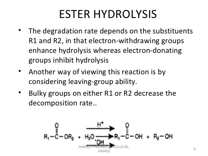 ESTER HYDROLYSIS• The degradation rate depends on the substituents  R1 and R2, in that electron-withdrawing groups  enhanc...