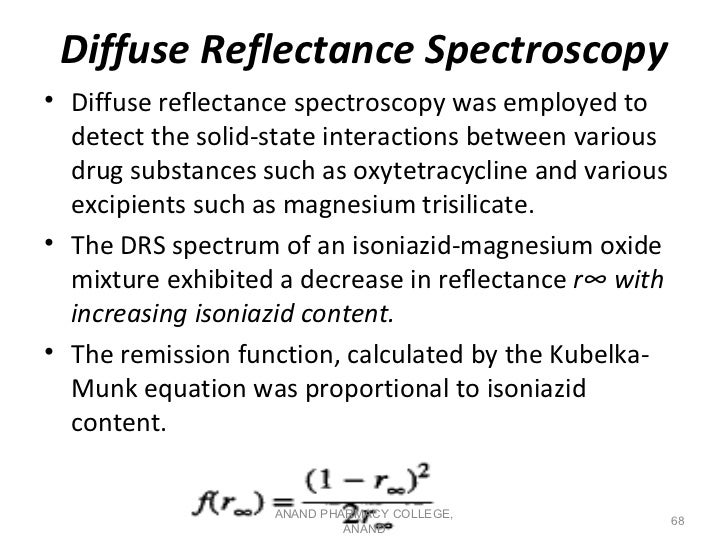 Diffuse Reflectance Spectroscopy• Diffuse reflectance spectroscopy was employed to  detect the solid-state interactions be...