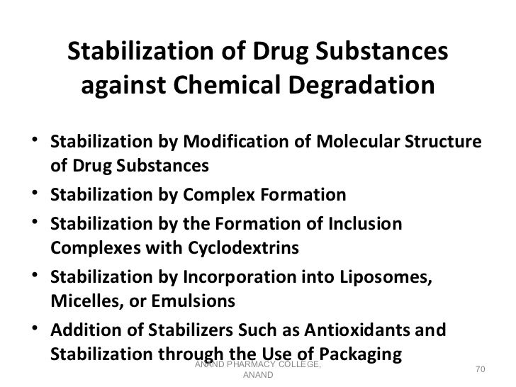 Stabilization of Drug Substances     against Chemical Degradation• Stabilization by Modification of Molecular Structure  o...