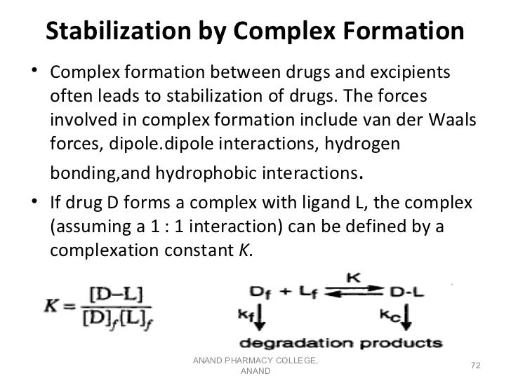 Stabilization by Complex Formation• Complex formation between drugs and excipients  often leads to stabilization of drugs....