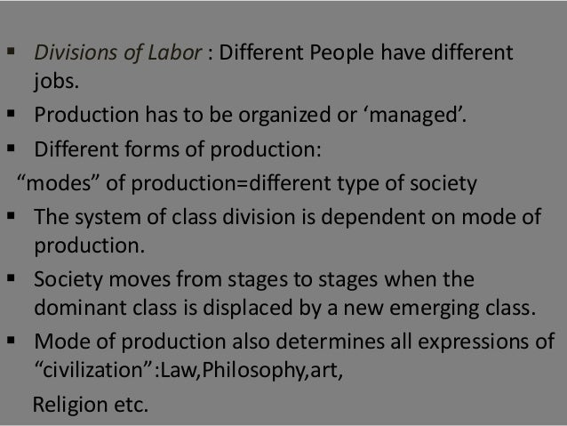 modes of production This paper seeks to identify the modes of production expressed by karl marx in my opinion this process is a never ending cyclical process it changes with the dynamics of society and within.