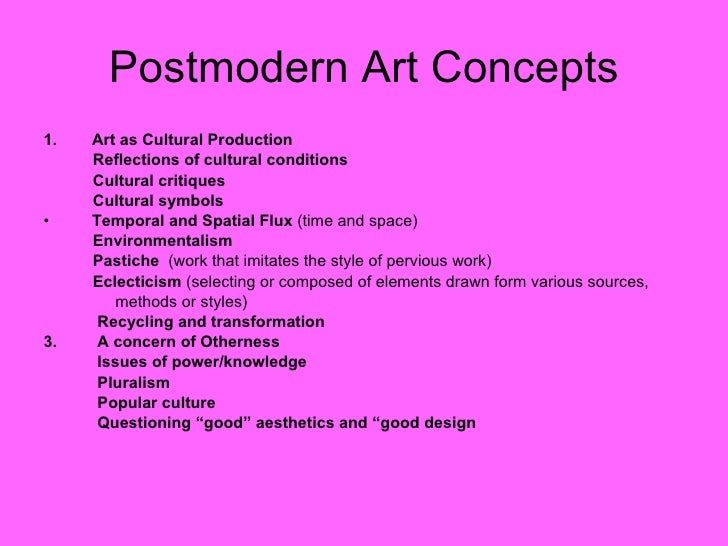 postmodern art essay This essay example has been submitted by a student our writers can write a better one for you however, according to many theorists, in a lancanian sense, 'each individual has to negotiate through discourse within the context of their body and material environment'24.