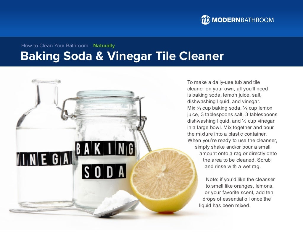 To make a daily-use tub and tile cleaner on your own, all you'll need is baking soda, lemon juice, salt, dishwashing liqui...
