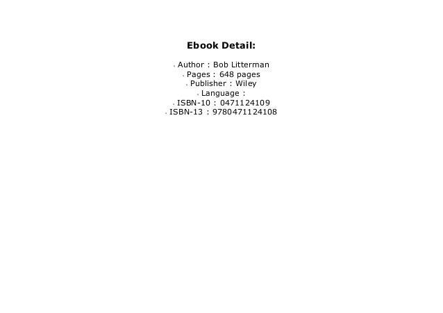 Modern investment management bob litterman pdf download formacje cenowe forex news