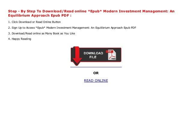 modern investment management bob litterman pdf download