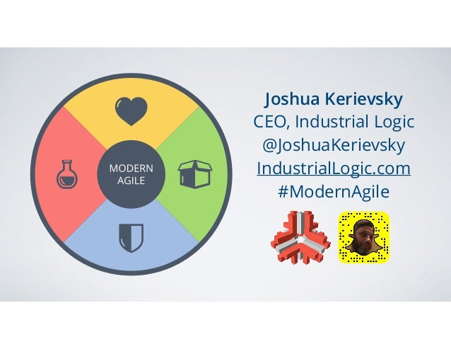 Joshua Kerievsky CEO, Industrial Logic @JoshuaKerievsky IndustrialLogic.com #ModernAgile