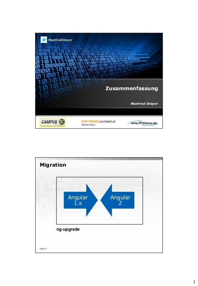 1 Zusammenfassung Manfred Steyer ManfredSteyer Migration Page  2 Angular 1.x Angular 2 ng-upgrade