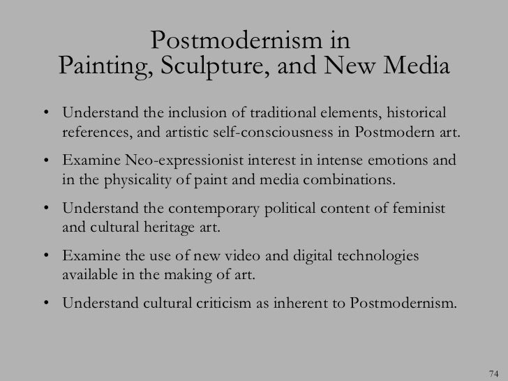 essay on post modernism art This sample postmodernism research paper is published for educational  visual art , literature  the term post modernism is a broadly defined concept that.
