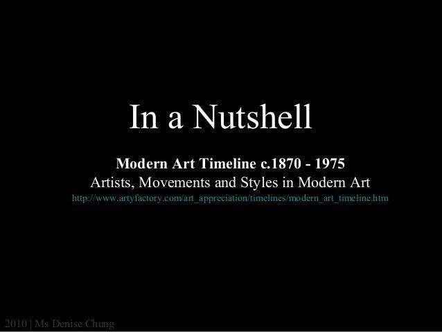 In a Nutshell Modern Art Timeline c.1870 - 1975 Artists, Movements and Styles in Modern Art http://www.artyfactory.com/art...