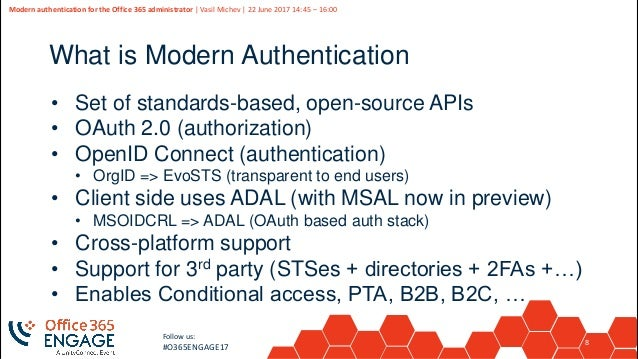 O365Engage17 - Modern authentication for the office 365