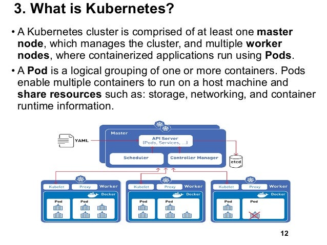 3. What is Kubernetes? • A Kubernetes cluster is comprised of at least one master node, which manages the cluster, and mul...
