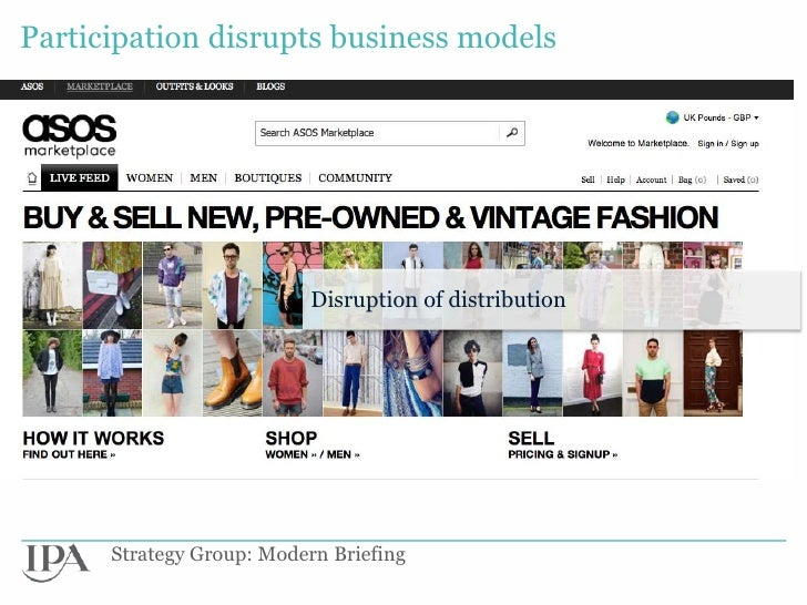 Participation disrupts business models                          Disruption of distribution      Strategy Group: Modern Bri...