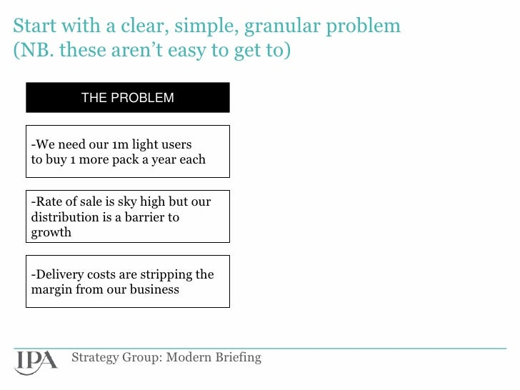 Start with a clear, simple, granular problem(NB. these aren't easy to get to)           THE PROBLEM  -We need our 1m light...