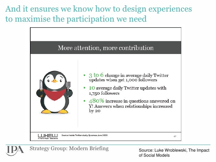 And it ensures we know how to design experiencesto maximise the participation we need      Strategy Group: Modern Briefing...