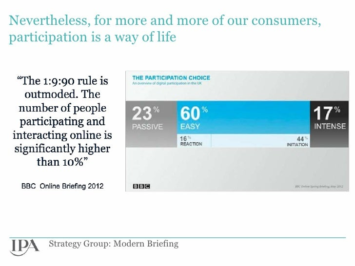 Nevertheless, for more and more of our consumers,participation is a way of life      Strategy Group: Modern Briefing