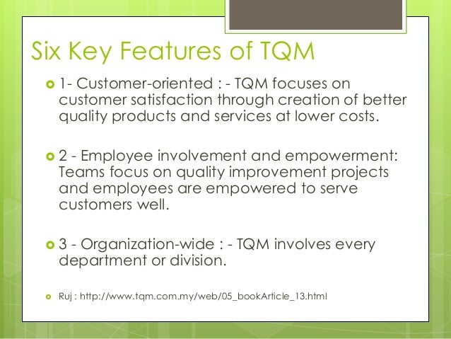 tqm in an accounting environment Advantages & disadvantages of total quality management strategies   organizations that function in highly competitive environments cannot afford the  luxury.