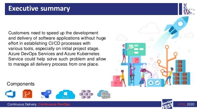 Continuous Delivery. Continuous DevOps. KYIV, 2020 Executive summary Components Customers need to speed up the development...