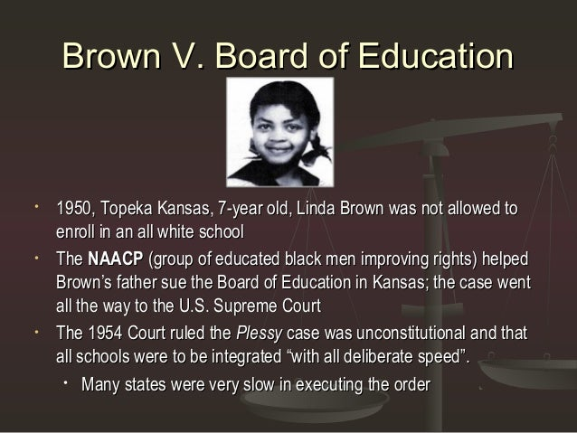 an analysis of brown versus board of education of topeka Brown v topeka board of education brown v topeka board of education – newspaper report linda brown was a third grade student in a black [.
