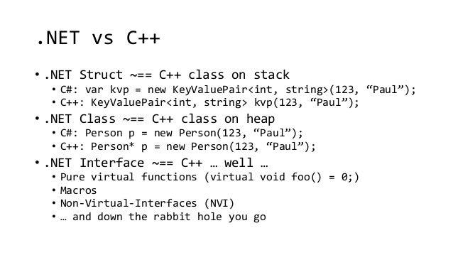""".NET vs C++  • .NET Struct ~== C++ class on stack  • C#: var kvp = new KeyValuePair<int, string>(123, """"Paul"""");  • C++: Key..."""