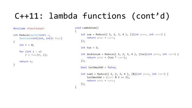 C++11: lambda functions (cont'd)