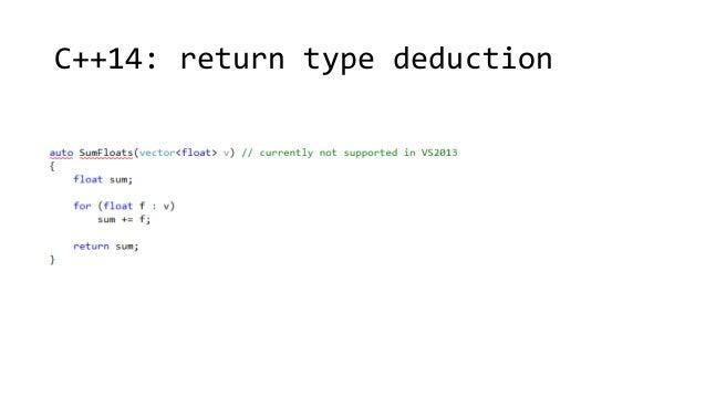 C++14: return type deduction