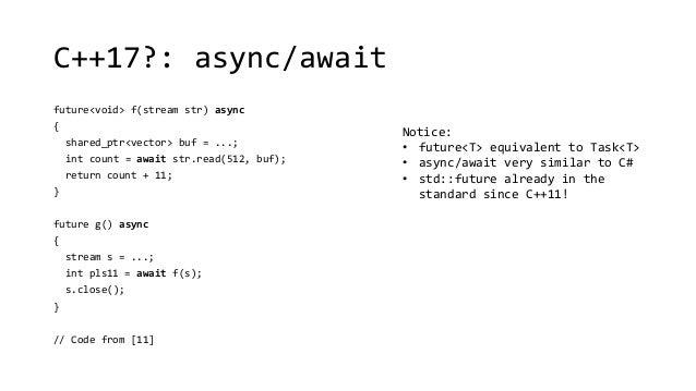 C++17?: async/await  future<void> f(stream str) async  {  shared_ptr<vector> buf = ...;  int count = await str.read(512, b...