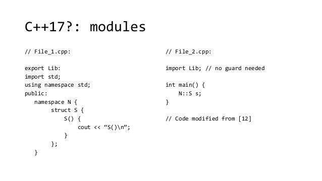 C++17?: modules  // File_1.cpp:  export Lib:  import std;  using namespace std;  public:  namespace N {  struct S {  S() {...