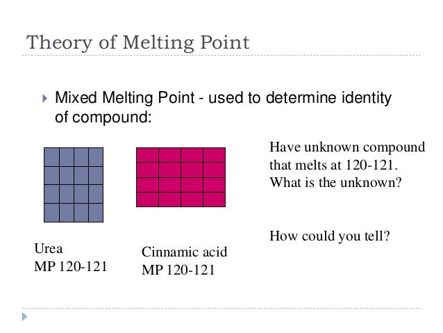 mixed melting points Experiment 1 - melting points introduction the melting point of a substance melting points and mixed melting points of compounds having similar melting points.
