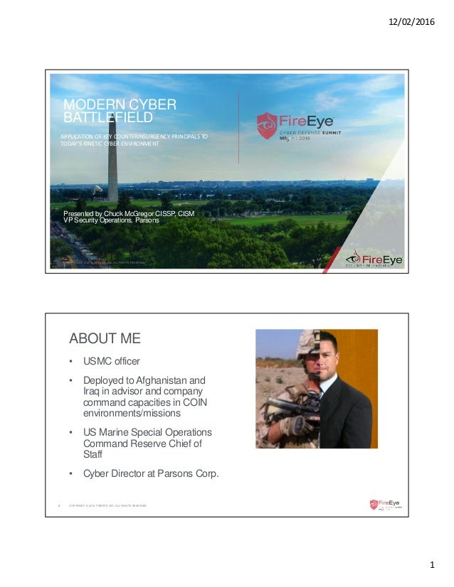 12/02/2016 1 COPYRIGHT © 2016, FIREEYE, INC. ALL RIGHTS RESERVED. MODERN CYBER BATTLEFIELD APPLICATION OF KEY COUNTERINSUR...