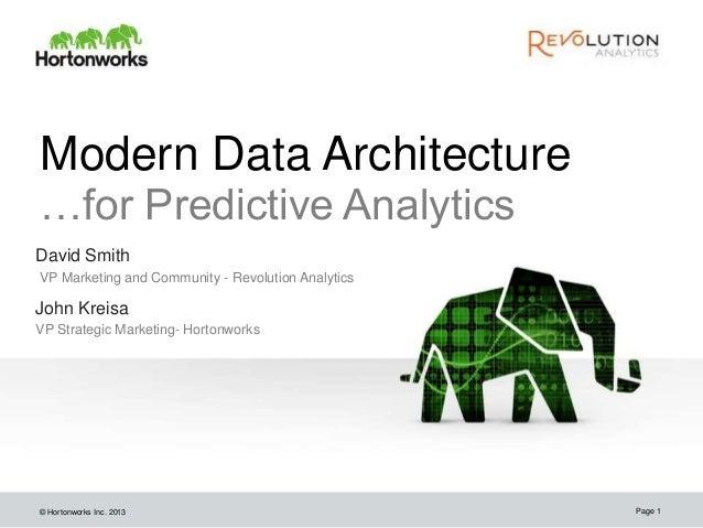 © Hortonworks Inc. 2013 Modern Data Architecture …for Predictive Analytics David Smith VP Marketing and Community - Revolu...