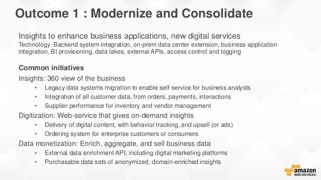 Insights to enhance business applications, new digital services Technology: Backend system integration, on-prem data cente...
