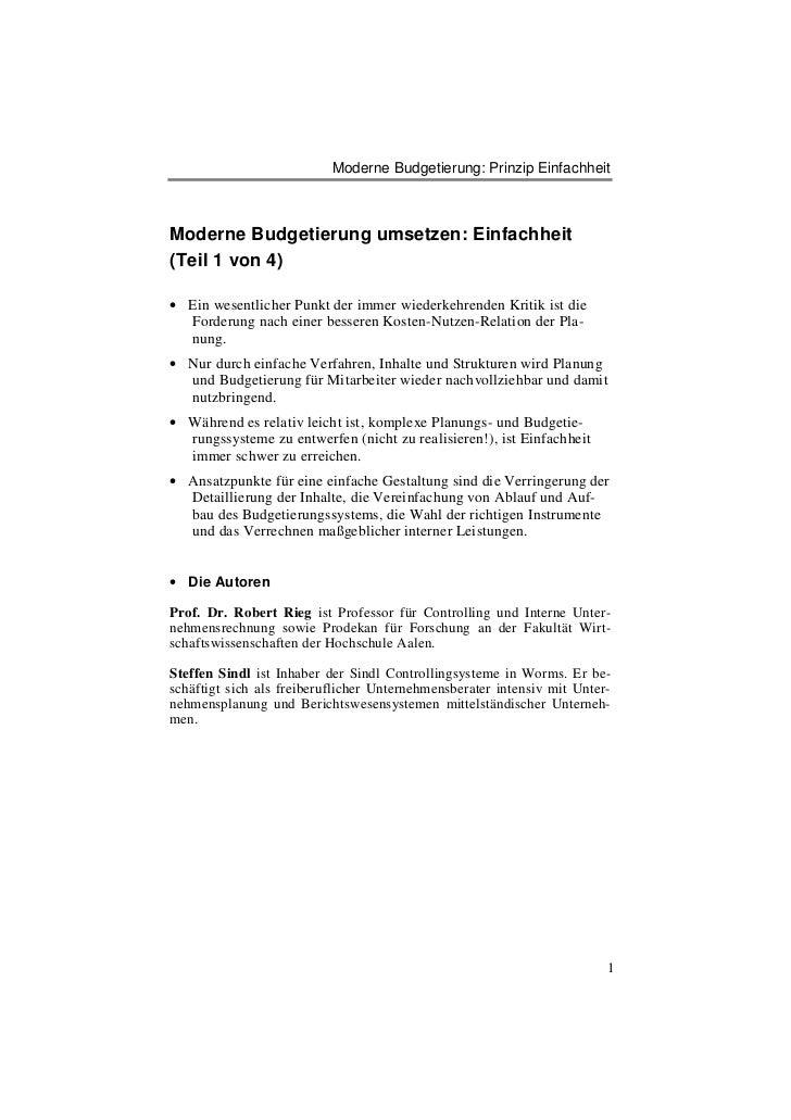 Moderne Budgetierung: Prinzip EinfachheitModerne Budgetierung umsetzen: Einfachheit(Teil 1 von 4)• Ein wesentlicher Punkt ...
