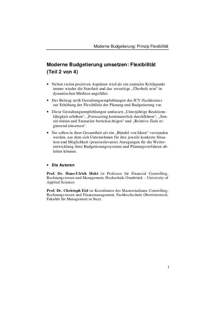 Moderne Budgetierung: Prinzip FlexibilitätModerne Budgetierung umsetzen: Flexibilität(Teil 2 von 4)• Neben vielen positive...