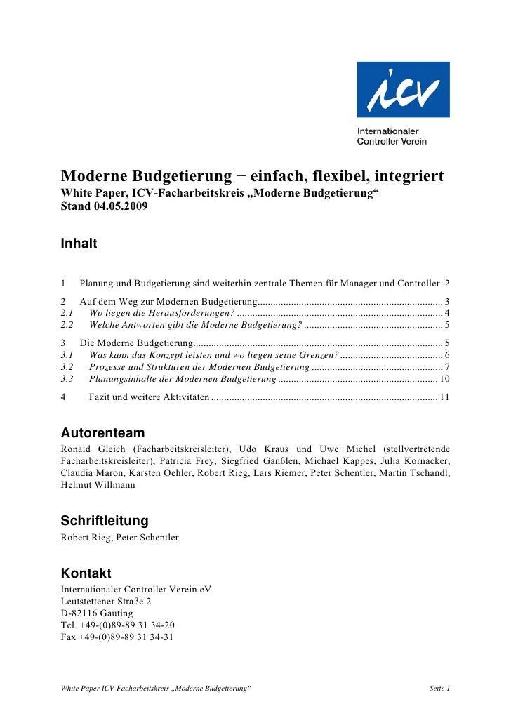 """Moderne Budgetierung − einfach, flexibel, integriert White Paper, ICV-Facharbeitskreis """"Moderne Budgetierung"""" Stand 04.05...."""