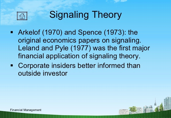 a study on dividend signaling theories finance essay Theories of current finance the interest of the dividend signaling theory the paper is the first empirical study on the information content of dividend.