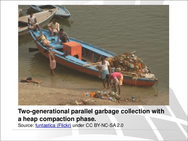 Two-generational parallel garbage collection with a heap compaction phase. Source: funtastica (Flickr) under CC BY-NC-SA 2...