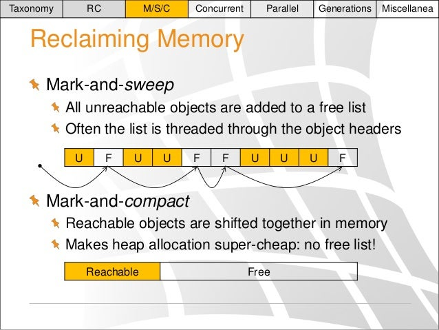 Taxonomy  RC  M/S/C  Concurrent  Parallel  Generations  Miscellanea  Reclaiming Memory Mark-and-sweep All unreachable obje...
