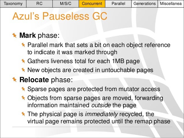 Taxonomy  RC  M/S/C  Concurrent  Parallel  Generations  Miscellanea  Azul's Pauseless GC Mark phase: Parallel mark that se...