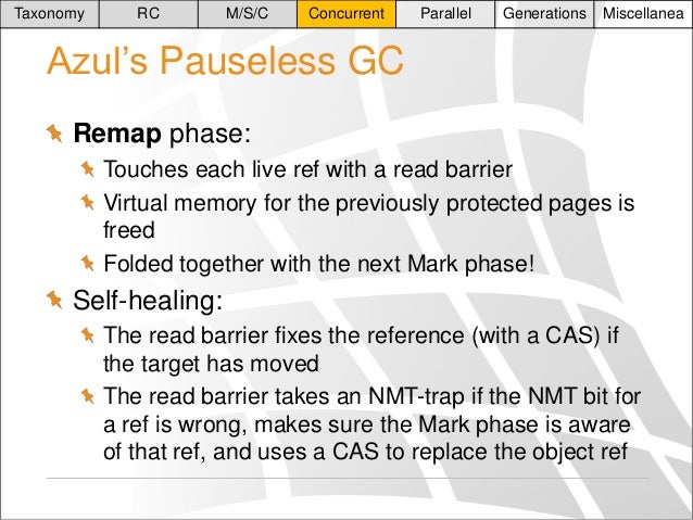 Taxonomy  RC  M/S/C  Concurrent  Parallel  Generations  Miscellanea  Azul's Pauseless GC Remap phase: Touches each live re...