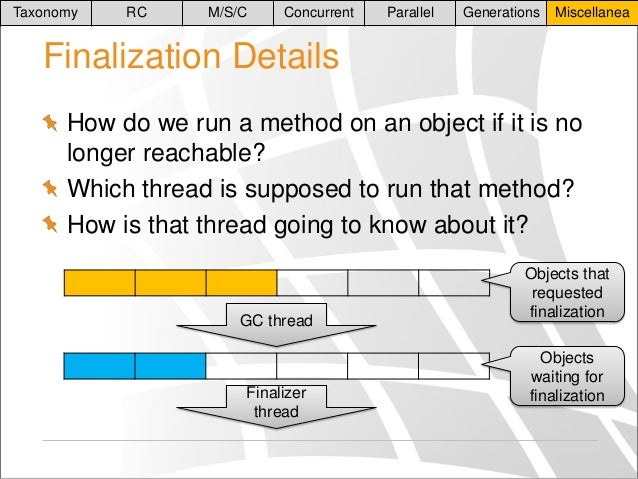 Taxonomy  RC  M/S/C  Concurrent  Parallel  Generations  Miscellanea  Finalization Details How do we run a method on an obj...
