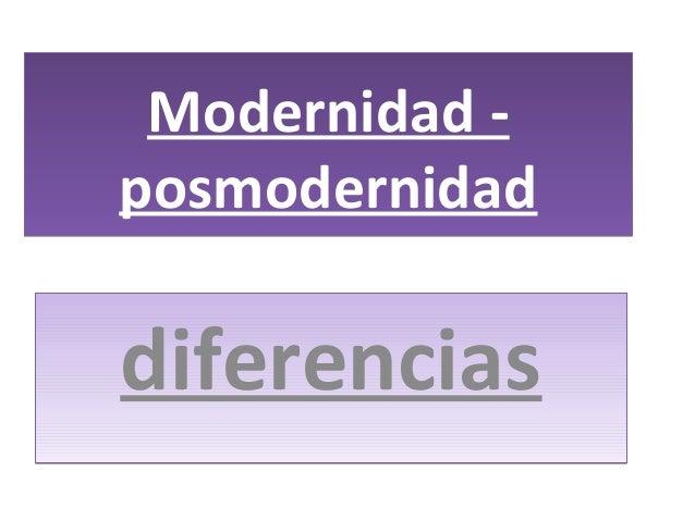 Modernidad - posmodernidad Modernidad - posmodernidad diferenciasdiferencias