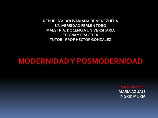 REPÚBLICA BOLIVARIANA DE VENEZUELA          UNIVERSIDAD FERMIN TORO      MAESTRIA: DOCENCIA UNIVERSITARIA              TEO...