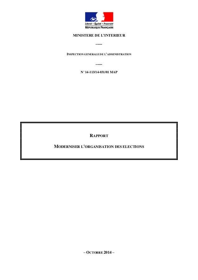 MINISTERE DE L'INTERIEUR ----- INSPECTION GENERALE DE L'ADMINISTRATION ----- N° 14-113/14-031/01 MAP RAPPORT MODERNISER L'...