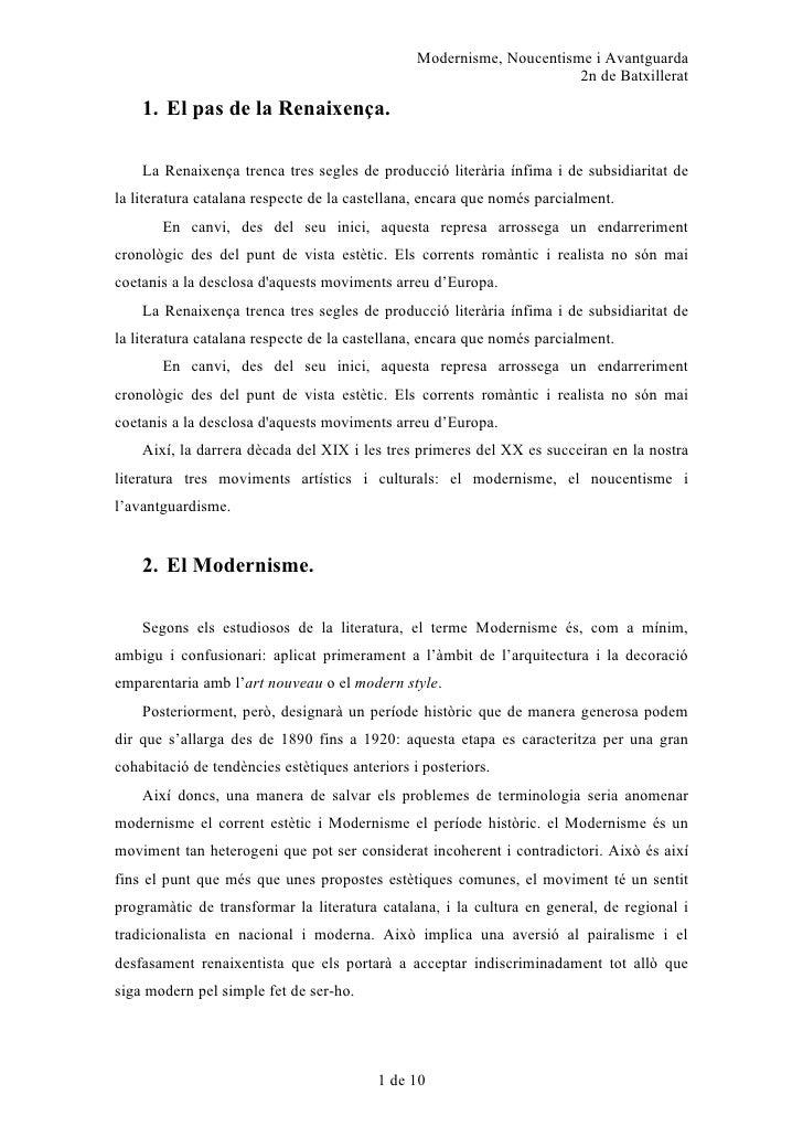 Modernisme, Noucentisme i Avantguarda                                                                       2n de Batxille...