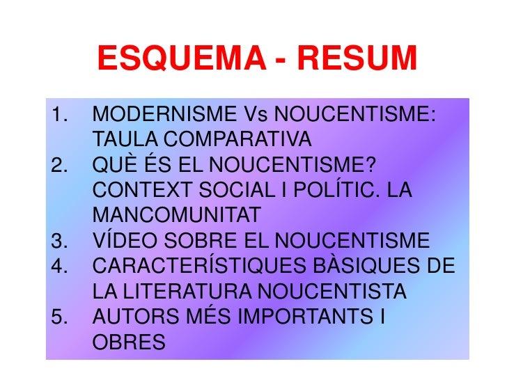ESQUEMA - RESUM1.   MODERNISME Vs NOUCENTISME:     TAULA COMPARATIVA2.   QUÈ ÉS EL NOUCENTISME?     CONTEXT SOCIAL I POLÍT...