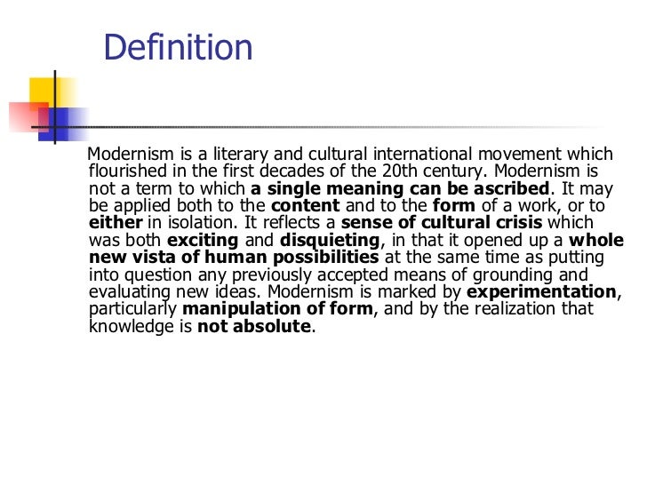 Modernism definition essay topic