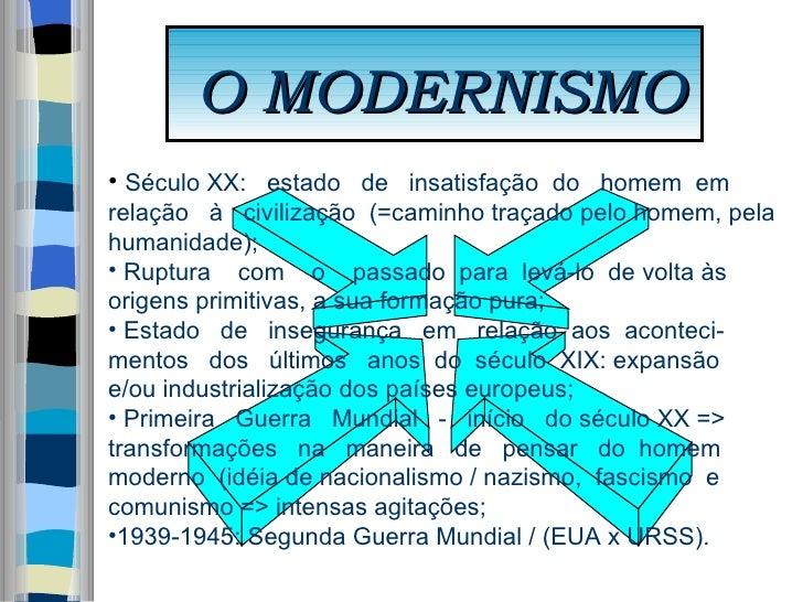 O MODERNISMO <ul><li>Século XX:   estado  de  insatisfação  do  homem  em  </li></ul><ul><li>relação  à  civilização  (=ca...