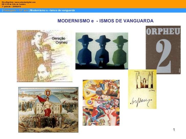|  Português – 12º ano  | Modernismo e –ismos de vanguarda Dina Baptista | www.sebentadigital.com EB 2,3/S de Vale de Camb...